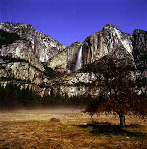 Moonlit Yosemite Falls and Pogonip Fog